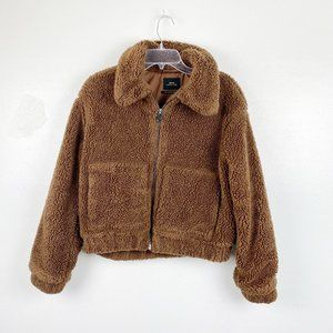 Urban Outfitters | Brown Cropped Teddy Jacket S